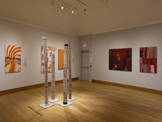 A World of Relations installed in the Hood Museum's William B. Jaffe and Evelyn A. Jaffe Hall Galleries. Photo by Jeffrey Nintzel.