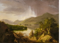 Thomas Cole, American (born England), 1801 - 1848, View on Lake George, 1826, oil on wood panel, 18 1/4 _ 24 3/4 in. (46.4 _ 62.9 cm). Hood Museum of Art, Dartmouth: Purchased through a gift from Evelyn A. and William B. Jaffe, Class of 1964H, by exchange