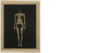 Leslie Dill, American, born 1950; sewn by Jennifer Luk, Front (The Soul Has Bandaged Moments), from A Word Made Flesh, 1994, photolithograph, etching, and aquatint on tea-stained Mulberry paper, hand sewn onto Arches buff paper.