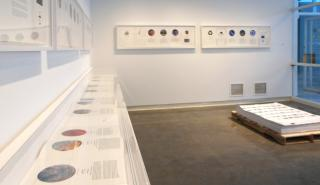 Installation of Mining Big Data on view in Strauss Gallery, Hopkins Center. Photo by Alison Palizzolo.