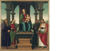 Perugino (Pietro di Cristoforo Vannucci) and Workshop, Virgin and Child with Saints, about 1500, oil and tempera on panel. Purchased through the Florence and Lansing Porter Moore 1937 Fund;P.999.2.