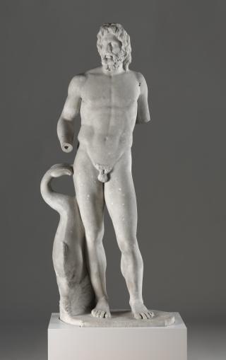 Roman, statue of Poseidon / Neptune alongside dolphin