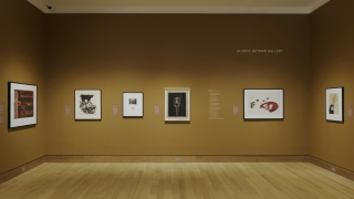 A photograph of a museum gallery with dark tan walls and six framed works on paper hanging on three walls.