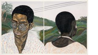 Toyin Ojih Odutola, Industry (Husband and Wife), 2017, pastel, charcoal and pencil on paper (diptych). Courtesy of the artist and Jack Shainman Gallery, New York.