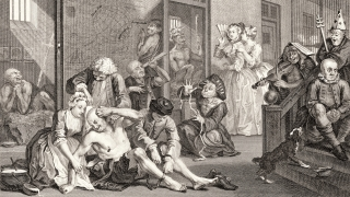 William Hogarth, A Rake's Progress (detail), plate 8, 1735, etching and engraving on laid paper.