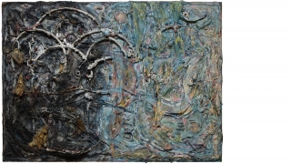 A sculptural 3D painting that employs cloth, paint, and various found objects.