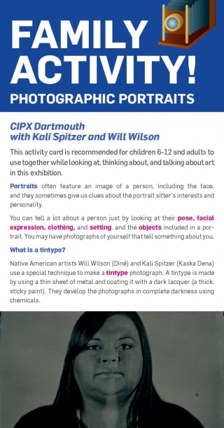 Cover of the gallery family activity card for the exhibition CIPX Dartmouth with Kali Spitzer and Will Wilson.