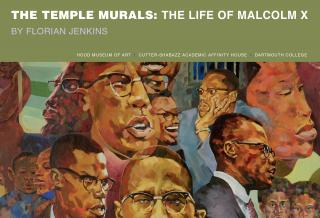 Cover of the brochure The Temple Murals: The Life of Malcolm X.