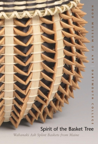 Cover of the exhibition brochure Spirit of the Basket Tree, featuring a photo of half of a woven Native American basket.