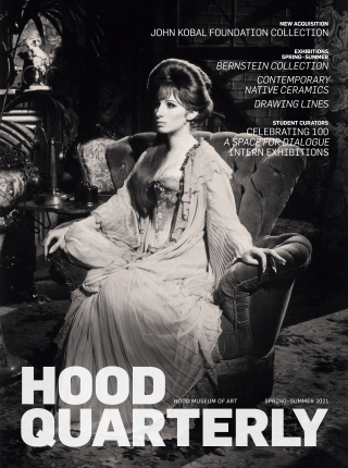 The cover of the 2021 spring-summer Hood Quarterly, featuring a black and white photograph of actress Barbra Streisand wearing a long white gown and sitting in a large upholstered chair.