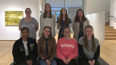 The 2019–20 interns: Turiya Adkins '20, Kensington Cochran '20, Maeve McBride '20, Sabena Allen '20, Grace Hanselman '20, Allison Carey '20, Kelly Scrima MALS '21, and Melissa Flamand '20. Not pictured: Hailee Brown '20 and Devon Mifflin '21.