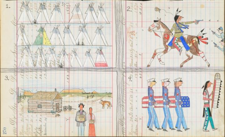 A Native American ledger drawing in crayon, colored pencil, and felt-tipped pen