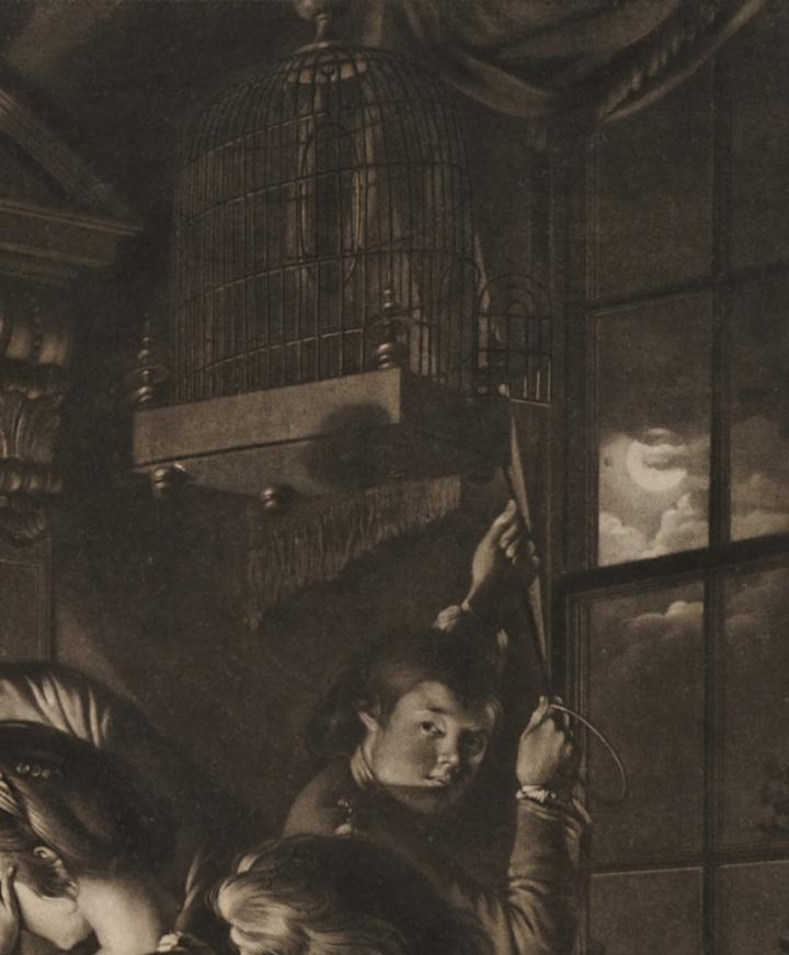 A detail of a mezzotint showing a group of people watching an experiment