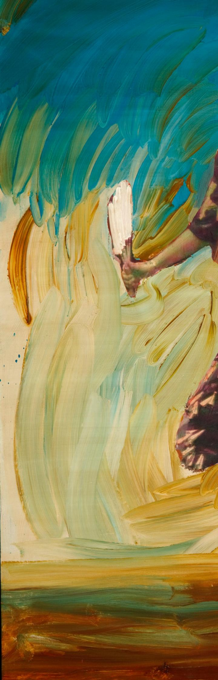 A detail of a painting of a Native American woman dancing
