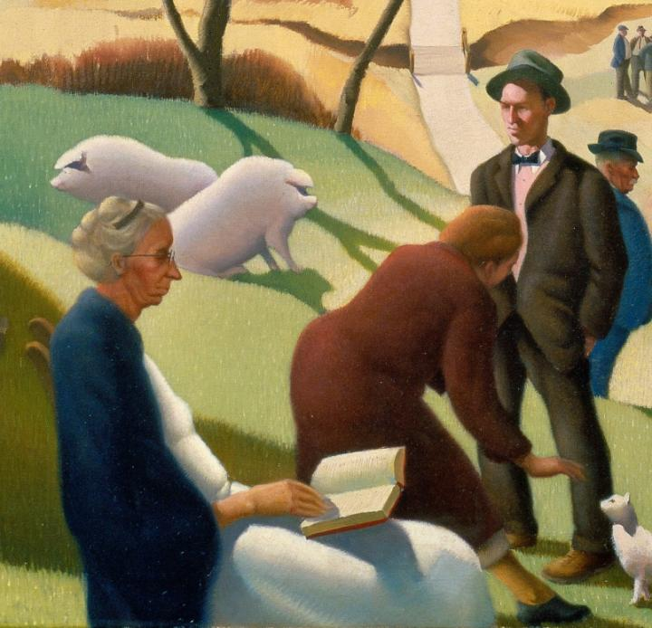 Detail of a painting showing an elderly woman with a book, a gentleman with a bow tie, and a woman bending to pet a dog, with sheep and a road in the background