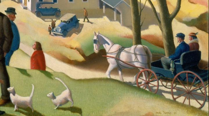 Detail of a painting showing a couple riding in a horse and buggy