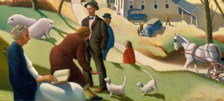 A detail of a painting showing people, sheep, dogs, a horse and buggy, and automobiles