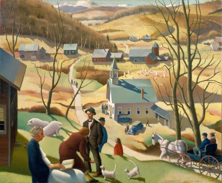 Painting of a pastoral scene, showing a village road, farm, church, houses, and villagers