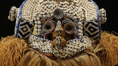Kuba people, Mukyeem, Mask of the King-as-Elephant (detail), 19th-20th century, wood, beads, fiber, hair, cowrie shells, and cloth. Hood Museum of Art, Dartmouth: Purchased through the William S. Rubin Fund; 2008.89.