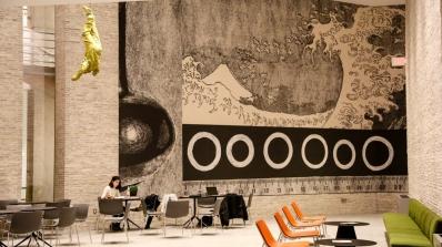 Student in Russo Atrium