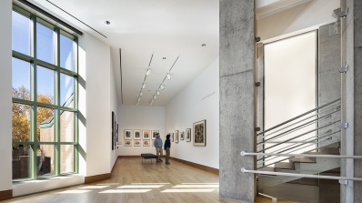 An installation of Japanese prints in the new Class of 1967 Gallery at the foot of the stairs in the renovated museum. © Michael Moran.