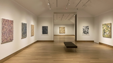 In the Midst of Something Splendid: Recent Paintings by Colleen Randall installed in the Hood Museum's Jaffe and Hall galleries on the second-floor. Photo by Alison Palizzolo.