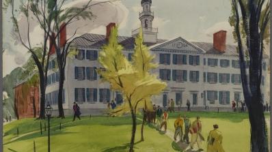 Hardie Gramatky, Dartmouth Hall, 1937, watercolor on heavy wove paper.