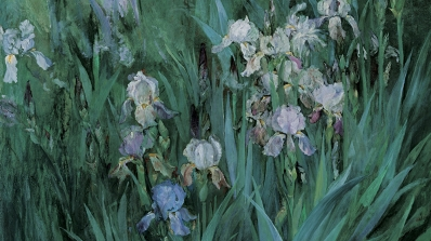 Maria Oakey Dewing, Iris at Dawn, 1899, oil on canvas. Purchased through the Miriam H. and S. Sidney Stoneman Acquisition Fund and the Mrs. Harvey P. Hood W'18 Fund; P.999.11.