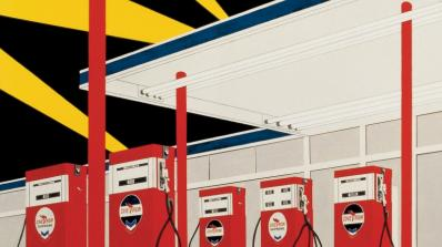 A detail of a painting showing a Standard gas station