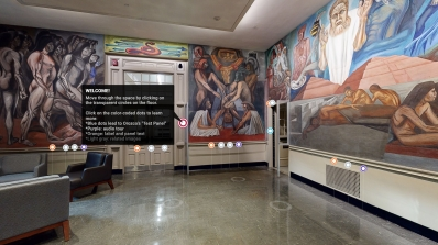 "A screenshot of the Matterport 3D virtual tour of José Clemente Orozco's mural cycle ""The Epic of American Civilization""."