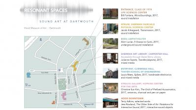 Resonant Spaces: Sound Art at Dartmouth exhibition walking guide.
