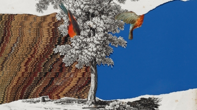 Varujan Boghosian, The Fall of Icarus, 1991, collage. Gift of Jane and Raphael Bernstein; 2010.84.18.