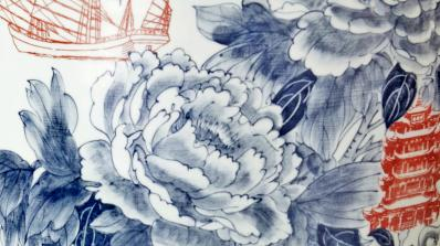 Sin-ying Ho, World Garden No. 1 (detail), 2014, porcelain, high-fired reduction, hand-painted cobalt pigment, high-fired under-glaze decal transfer, clear glaze. Courtesy of the artist and Ferrin Contemporary.