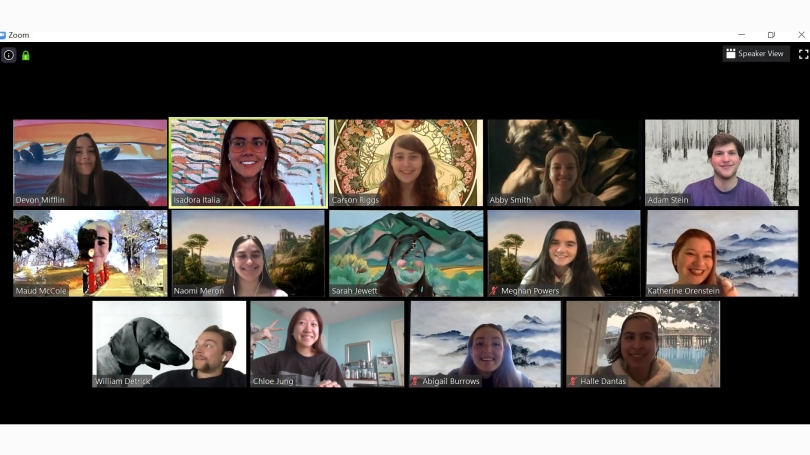 Museum Club members at a weekly meeting conducted via Zoom during the spring 2020 term.
