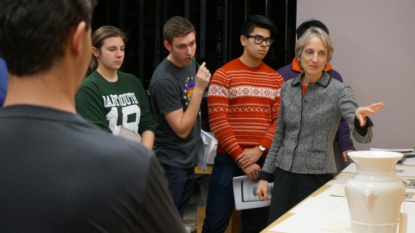 A Dartmouth writing class in Bernstein Study-Storage working with original works of art.