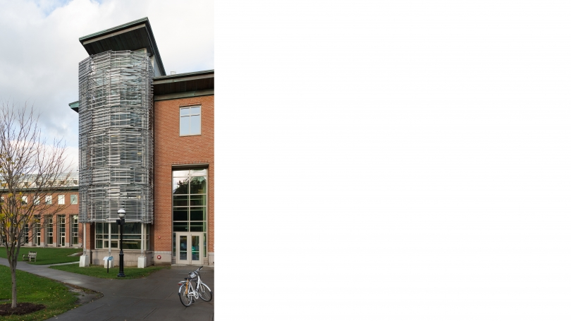 Fig. 12. View of the sliver slatted structure in front of the Class of 1978 Life Sciences Center, Dartmouth College, which housed Bill Fontana's, MicroSoundings, 2017. Photo by Joseph Beaudoin.
