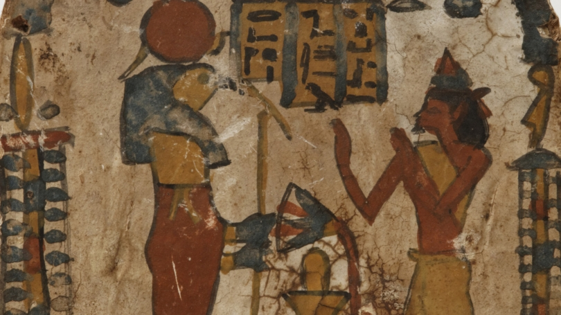 Egyptian, Stela of Amun-Hor, son of Pedy-Iset, Late Period, Dynasty 25 (780-660 BCE), wood and red, green, white, and ochre paint. Hood Museum of Art, Dartmouth College; 13.157.4111.