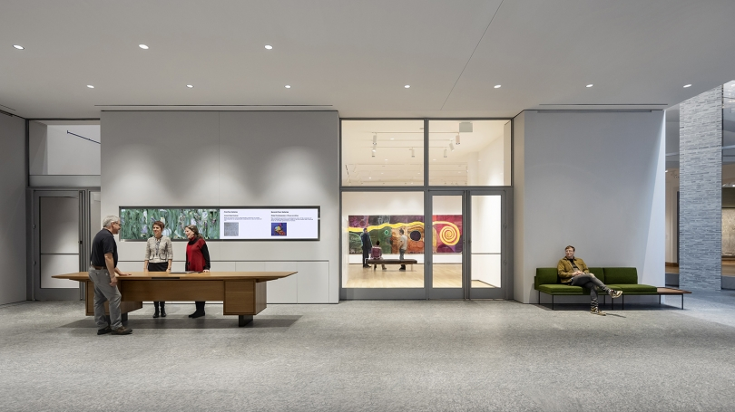 View of gallery entrance, with the welcome desk to the left. © Michael Moran