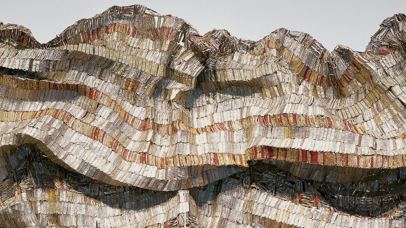 El Anatsui, Ghanaian, born 1944, Hovor (detail), 2003, aluminum bottle tops and copper wire. Hood Museum of Art, Dartmouth: Purchased through gifts from the Lathrop Fellows; 2005.42.