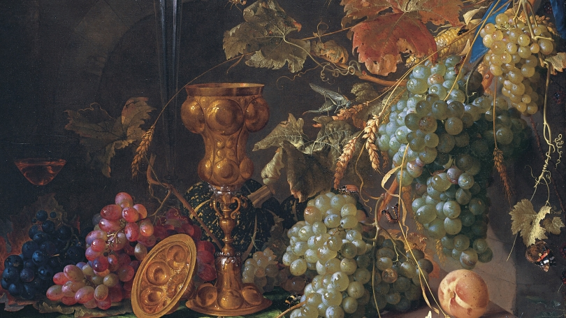 Jan Davidsz. De Heem, Dutch, 1606 - 1684, Still Life with Grapes (detail), about 1660, oil on canvas.