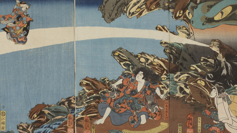 Utagawa Kuniyoshi, Japanese, 1798 - 1861, Gama Sennin, the Toad Spirit, teaching Yoshikado and his sister Takiyasha the Arts of Magic (detail), 1845, color woodblock print (triptych).