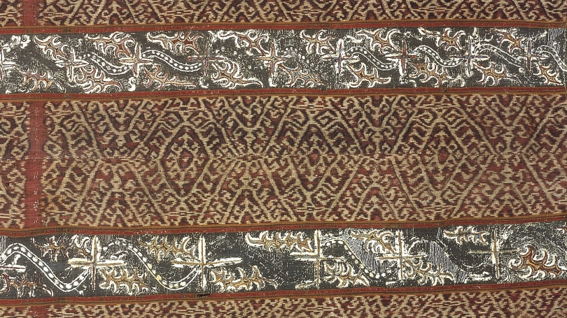 Sumatra, Tapis Inch (detail), 19th century, cotton with silk floss. Hood Museum of Art, Dartmouth: Gift of Stephen A. Lister, Class of 1963; 2009.98.16.
