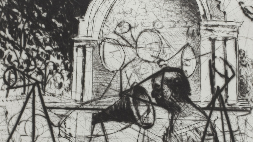 William Kentridge, South African, born 1955, Untitled (Central Park Bandshell) (detail), 2005, etching on paper. Hood Museum of Art, Dartmouth: Gift of Hugh J. Freund, Class of 1967; 2010.89.9.