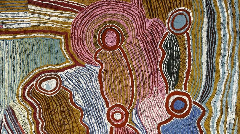 Maggie Watson Napangardi, Australian (Warlpiri), about 1920 - 2004, Ngalyipi Jinta Punta Jukurrpa (Snake Vine Mushroom Dreaming) (detail), 1996, acrylic on canvas. Hood Museum of Art, Dartmouth: Gift of Will Owen and Harvey Wagner; 2011.60.76.