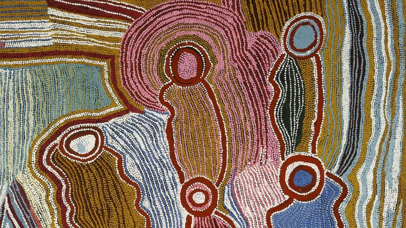 Maggie Watson Napangardi, Australian (Warlpiri), about 1920 - 2004, Ngalyipi Jinta Punta Jukurrpa (Snake Vine Mushroom Dreaming) (detail), 1996, acrylic on canvas. Hood Museum of Art, Dartmouth: Gift of Will Owen and Harvey Wagner; 2011.60.76.