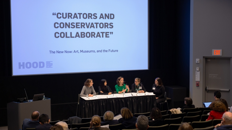 """A panel of museum curator and conservators, all graduates of Dartmouth, discuss collaboration the symposium """"The New Now: Art, Museums, and the Future"""". Photoby Rob Strong."""