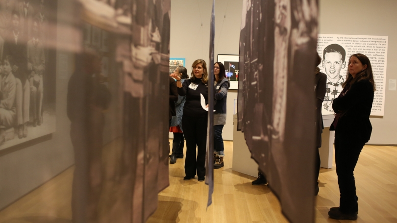 K-12 teachers explore Carrie Mae Weems' The Hampton Project at a Teacher Workshop. Photo by Rob Strong.