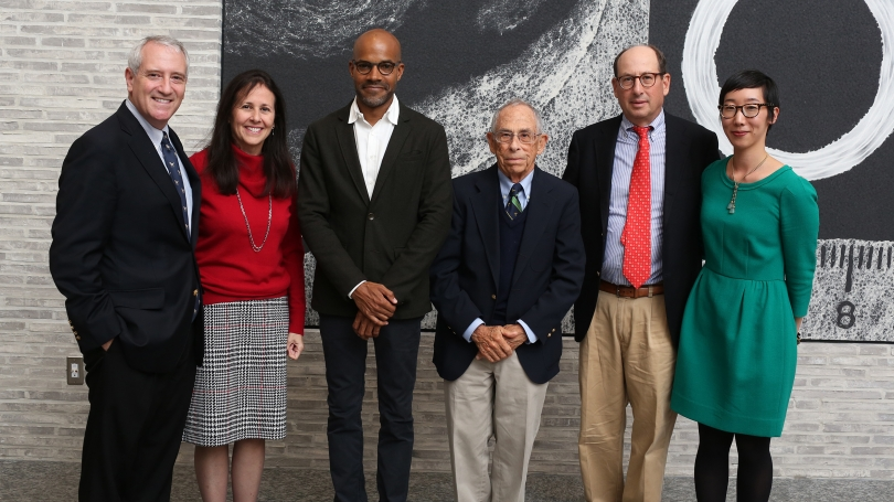 The Root family poses with Darby English, Carl Darling Buck Professor, Department of Art History, Uni. of Chicago, after he delivered his lecture at the 2019 annual Dr. Allen W. Root Contemporary Distinguished Lectureship. Photo by Rob Strong.