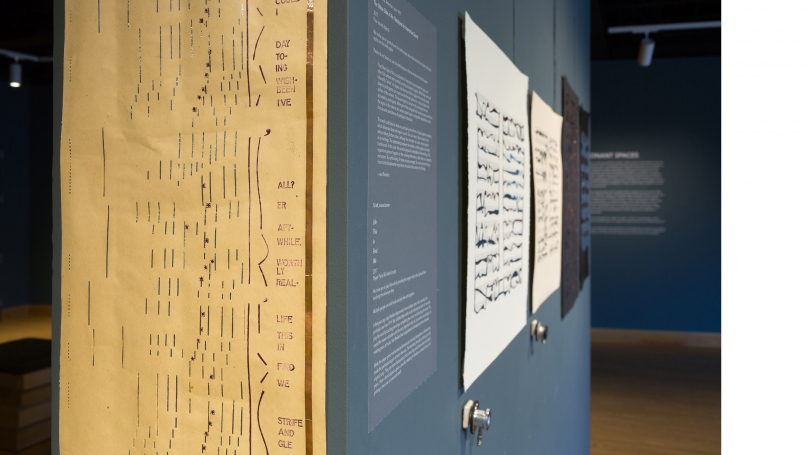 Fig. 20. Detail of Jess Rowland's Life This In Find We, 2017, exhibited at Hood Downtown. Note how on the found piano roll Rowland both added a copper strip on the right and filled in the note holes with other metals. By touching both metal elements simul