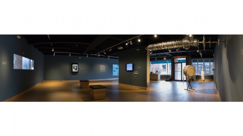 Fig. 21. A panoramic view of the works by Terry Adkins installed at Hood Downtown. Photo by Joseph Beaudoin.